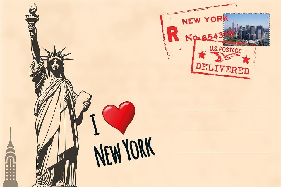 Postcard, New York, Statue Of Liberty