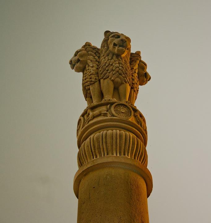 India, National, Emblem, Statue, Pillar