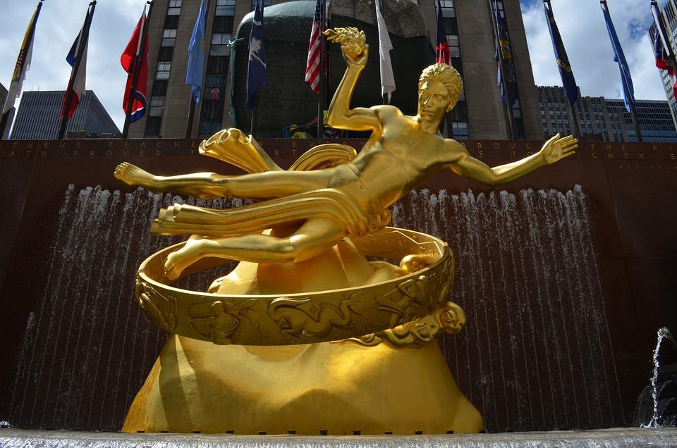 Prometheus, Source, Rockefeller, New York, Statue