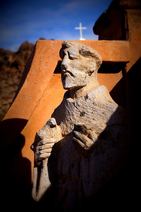 Statue, Stone, Mission, Religion, Cross, Arizona