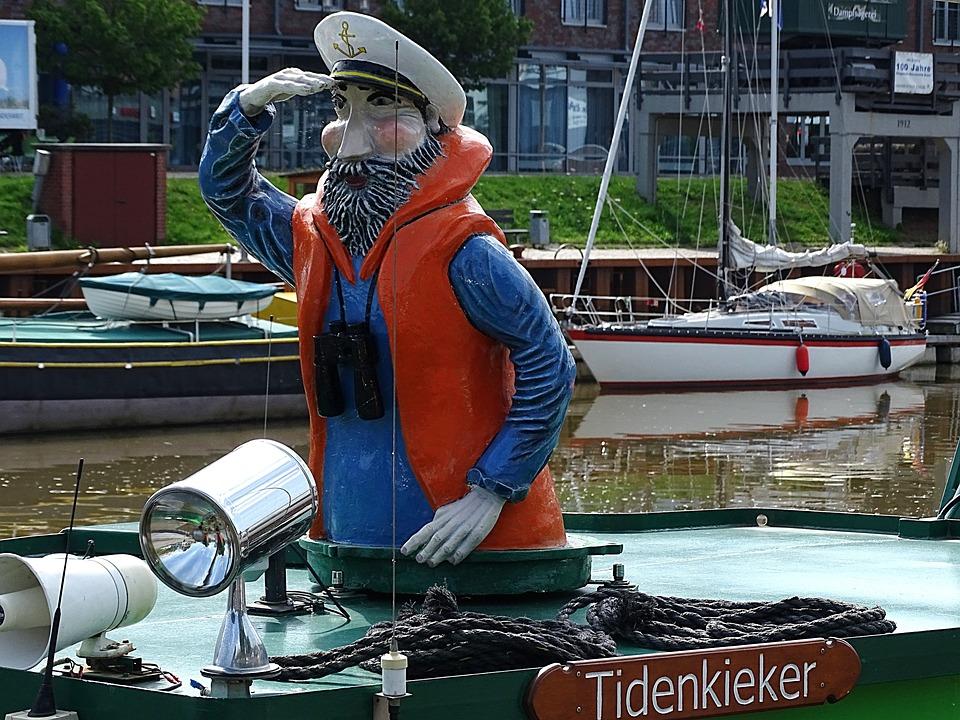 Schiffer, Tide Kieker, Statue, Ship, Port, Stade