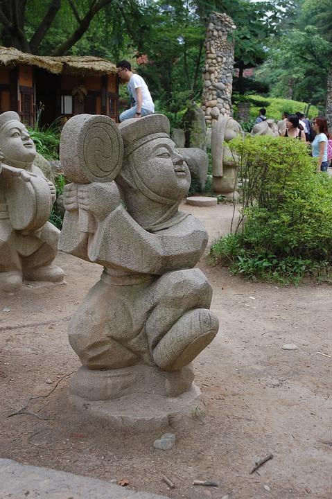 Statue, Dancer, South Korea, Asia, Pierre, Tradition