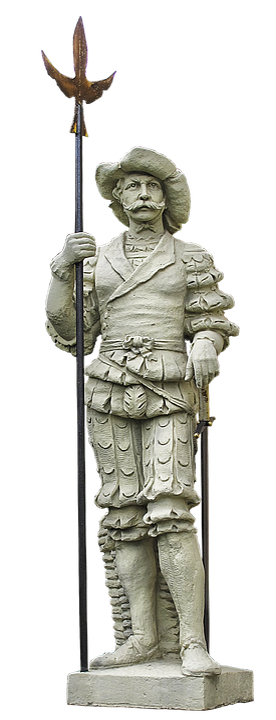 Landsknecht, Statue, Halberd, Stone Figure, Monument