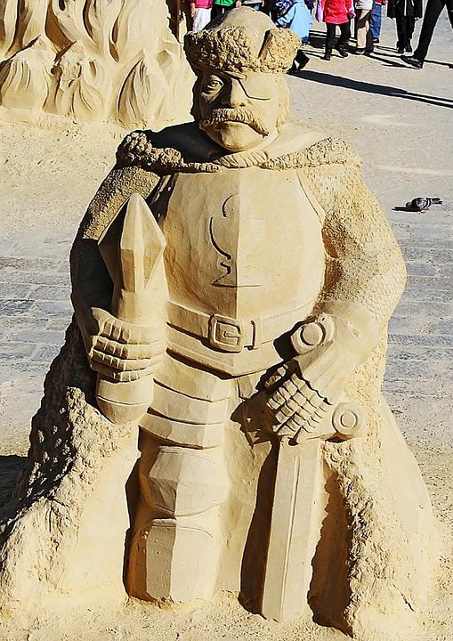 Statue, Sand, The Waterfront