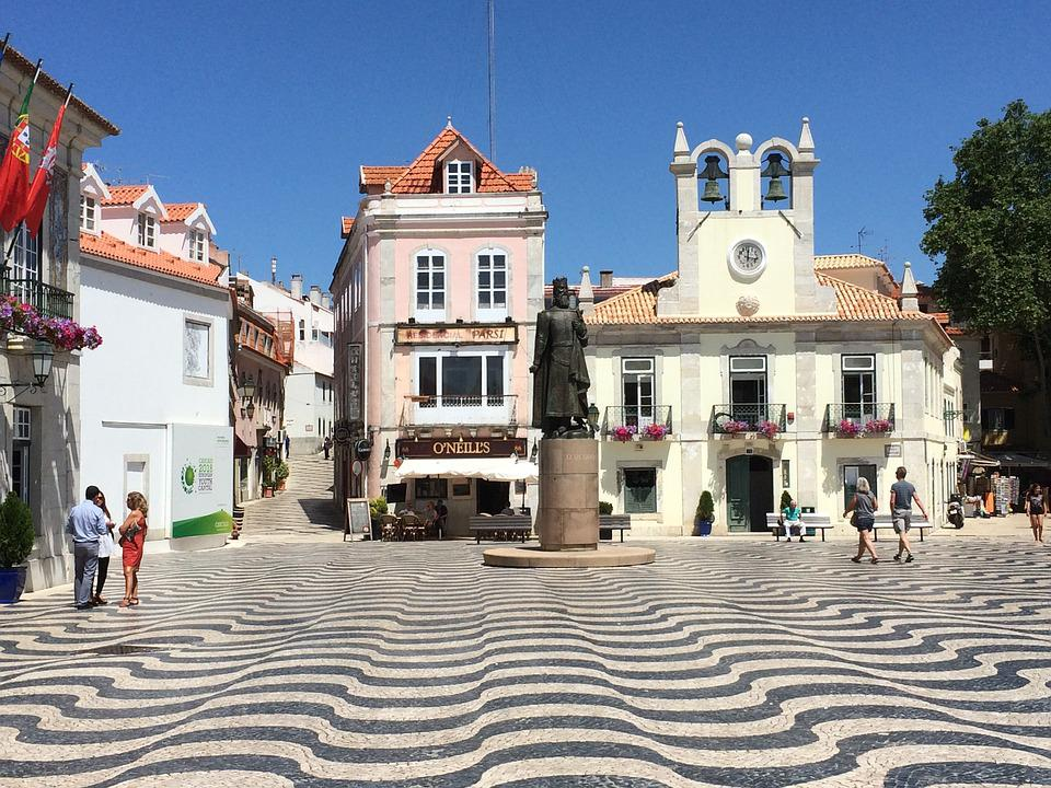 Cascais, Portugal, Wave, Homes, Statue
