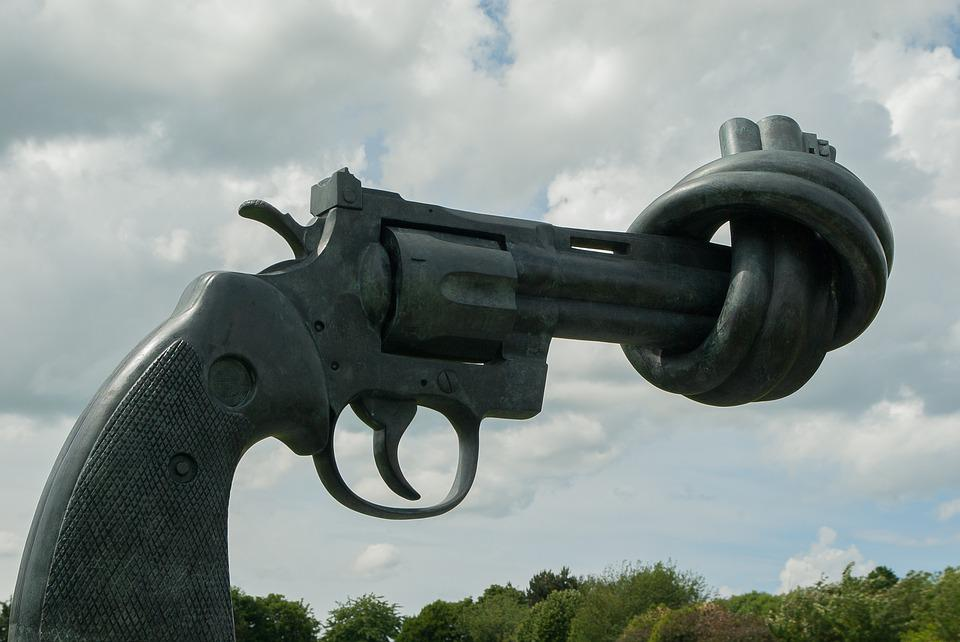 Nonviolence, Normandy, Caen, Revolver, Weapon, Statue