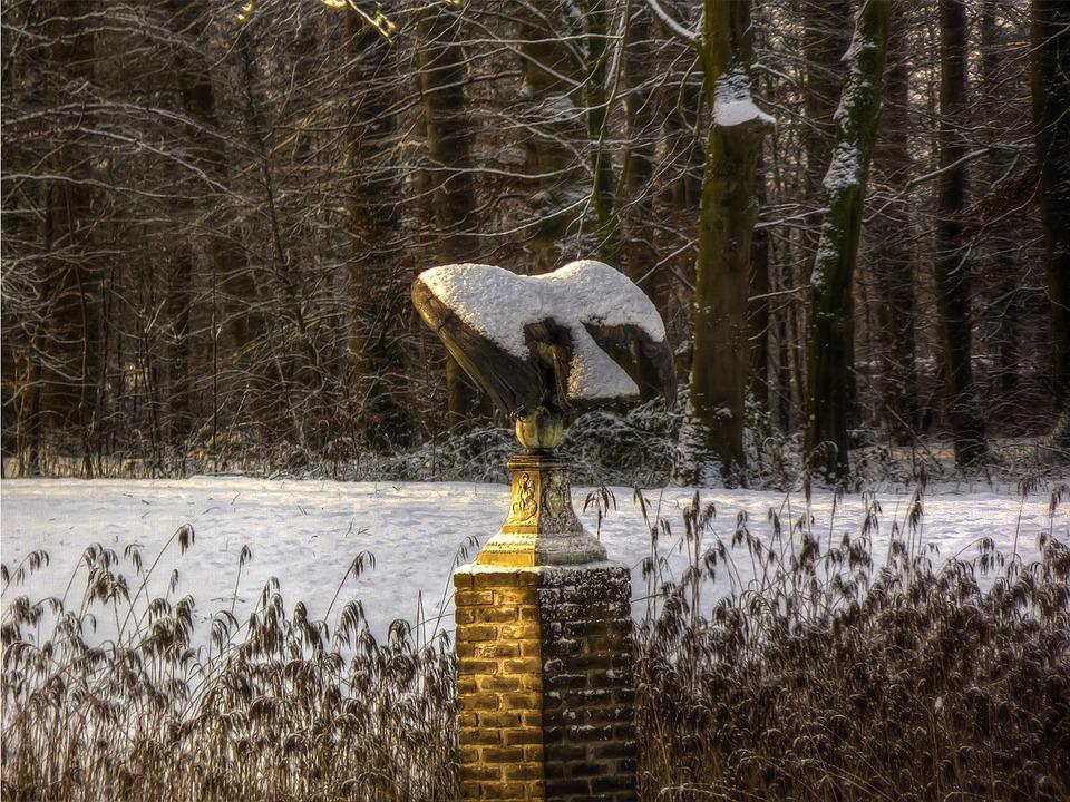 Statue, Winter, Garden, Bird