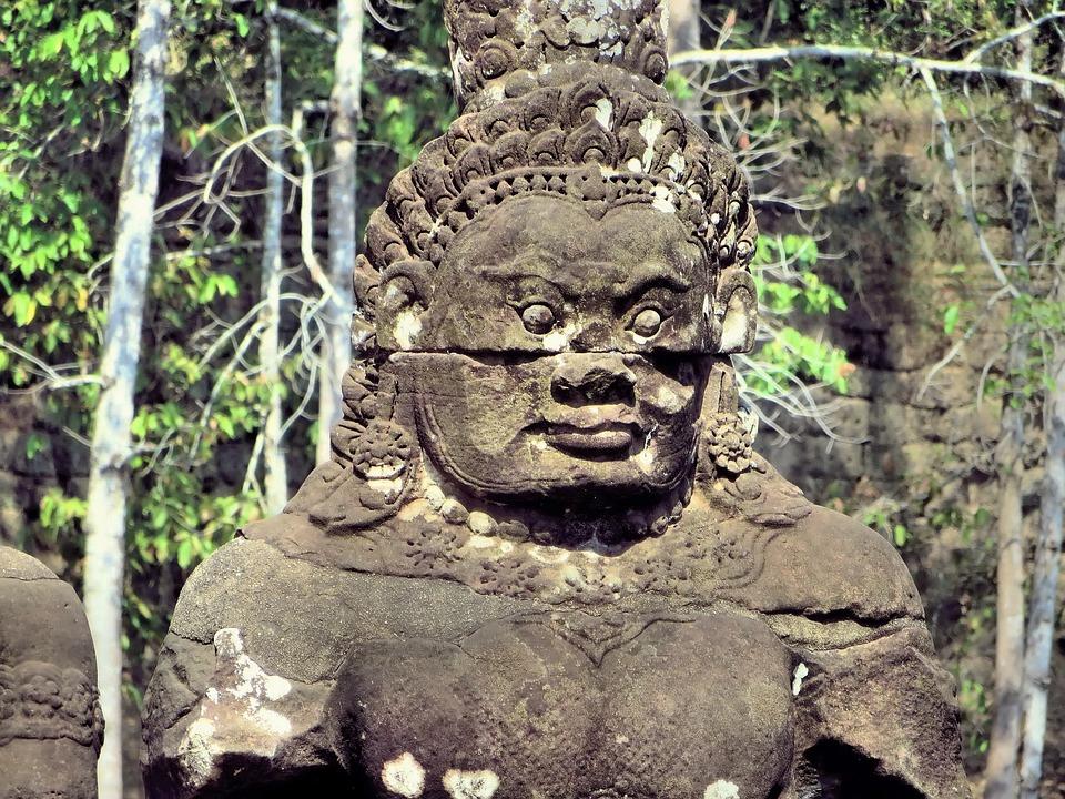 Cambodia, Angkor, Guardian, Bayon, Temple, Statues