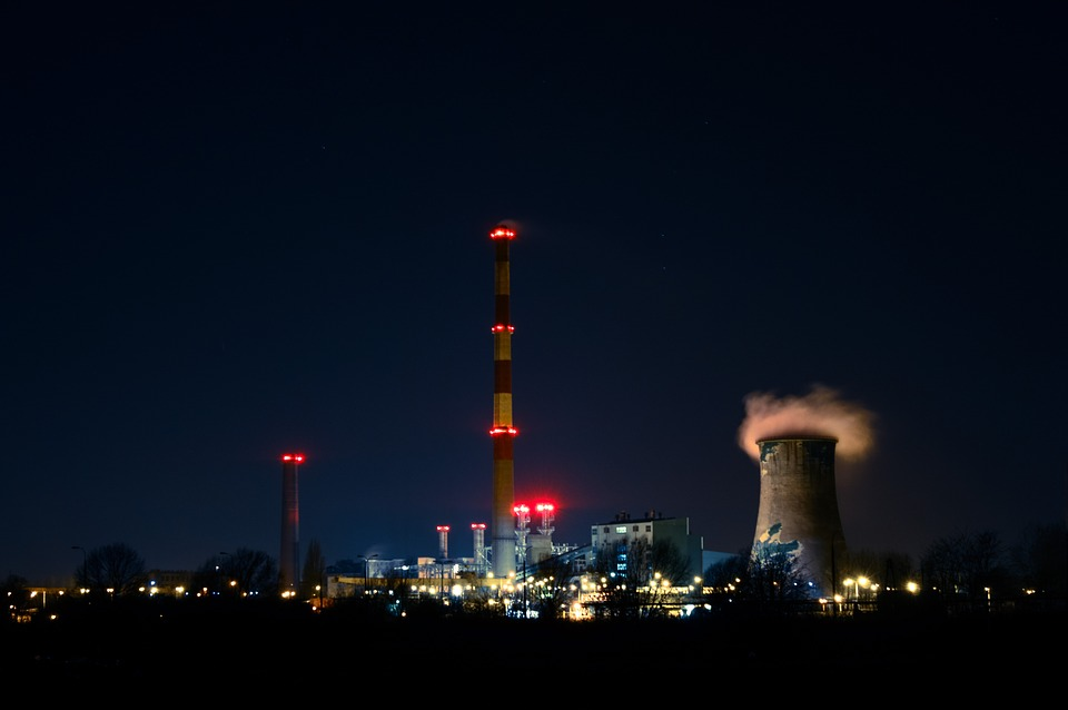 Power Plant, Night, Illumnated, Steam, Tower, Energy