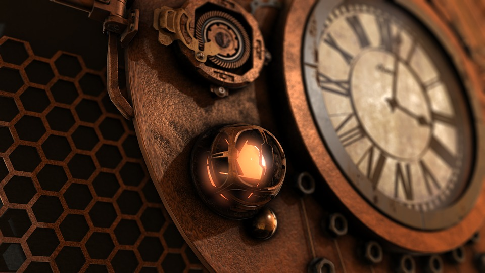 Steampunk, Clock, Time, Fantasy, Background, Antique