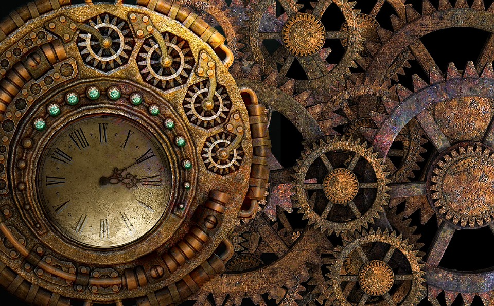 Steam, Punk, Steampunk, Background, Gears, Time Machine