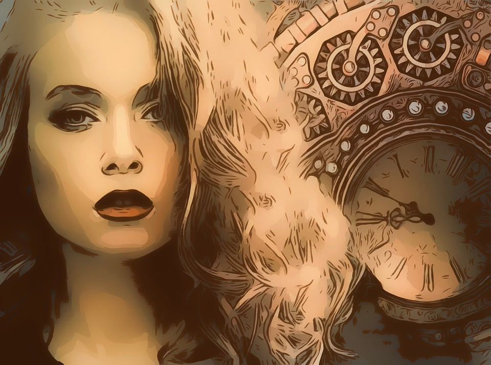 Vintage, Retro, Steampunk, Steam, Punk, Woman, Pretty
