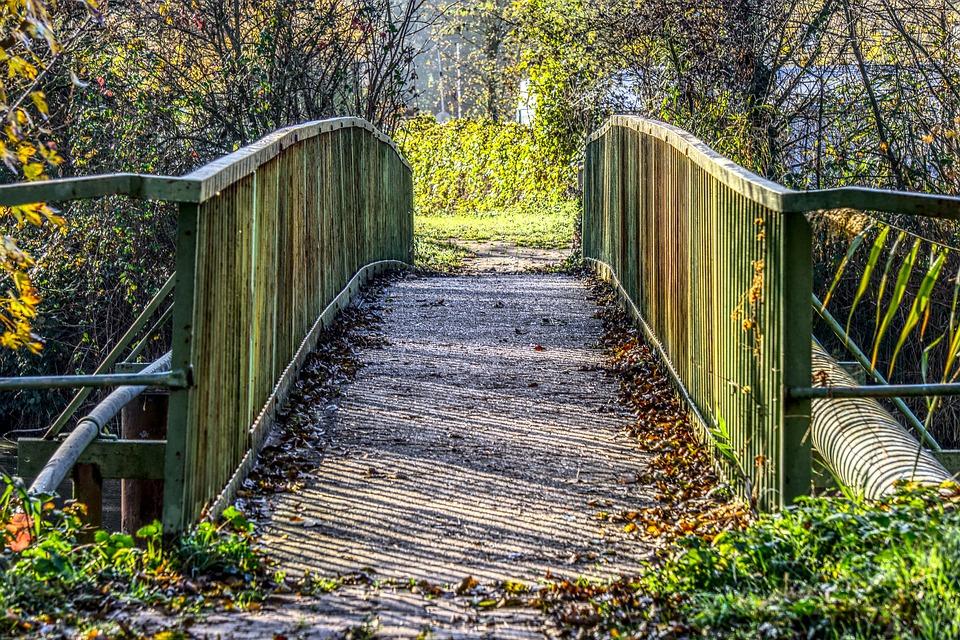 Bridge, Transition, Iron, Steel, Railing, Green