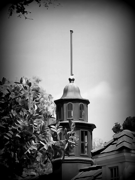 Black And White, Steeple, Architecture, Building