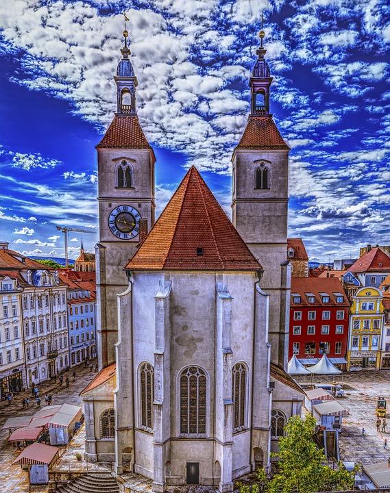 Steeple, Church, Building, Sky, Great, Germany, Faith