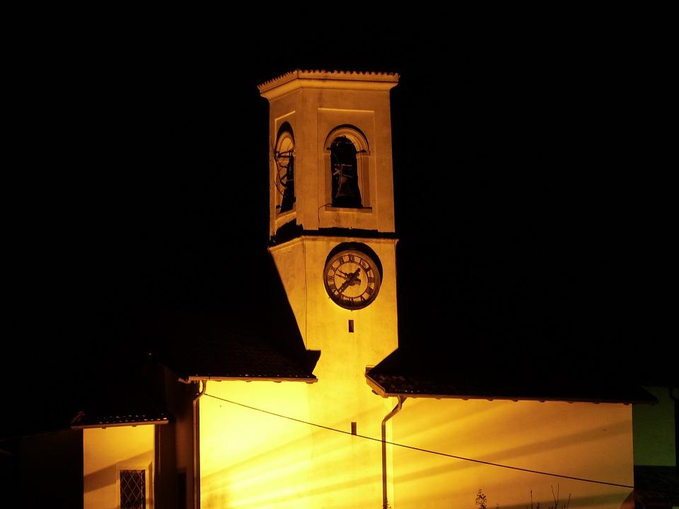 Church, Illuminated, Night, Pregasina, Garda, Steeple