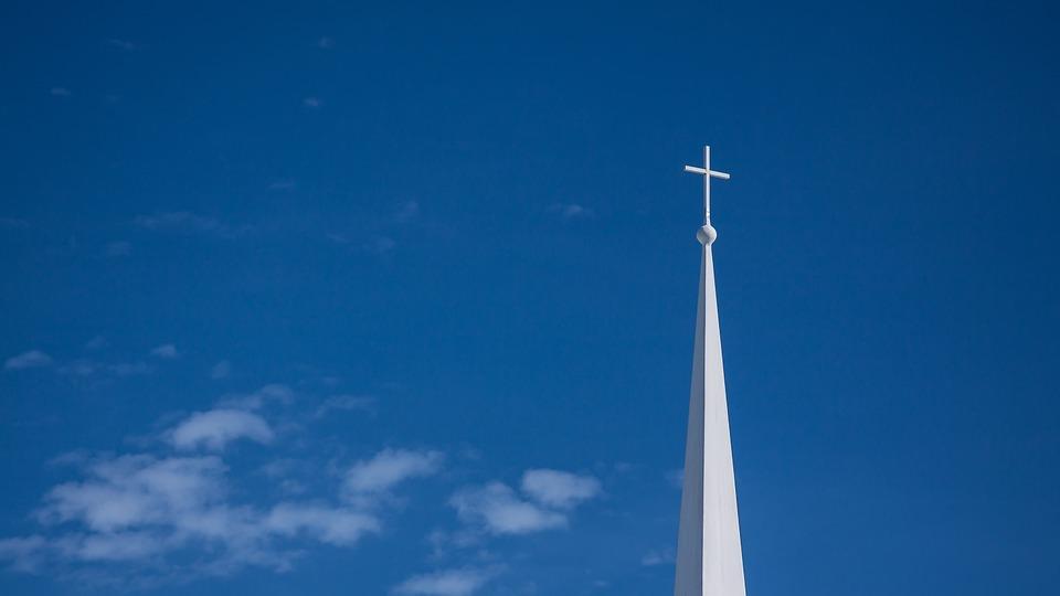 Cross, Steeple, Spire, Sky, Religious, Blue