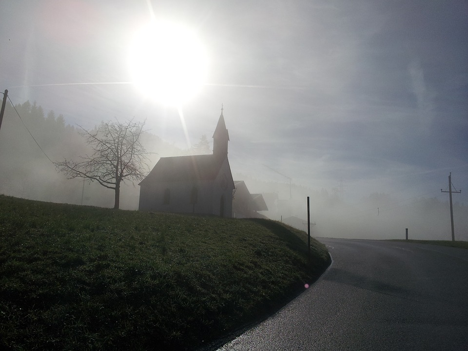 Chapel, Fog, Haze, Mood, Steeple, Jesus, Spirit