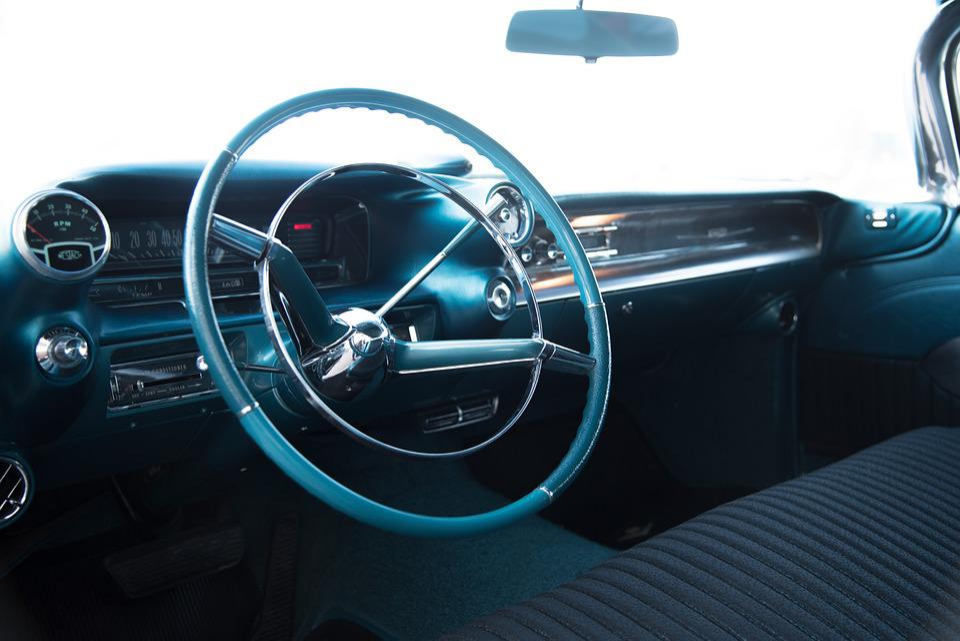 Caddilac, Amerinaner, Car, Vintage, Steering Wheel