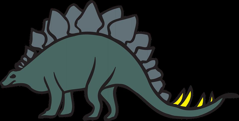 Green, View, Dinosaur, Stegosaurus, Tail, Ancient, Rear