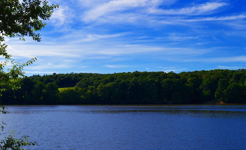 Lake, Water, Badesee, Dam, Steinbach Dam, Bank, Sky