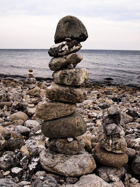 Stones, Balance, Steinmann, Beach, Tower