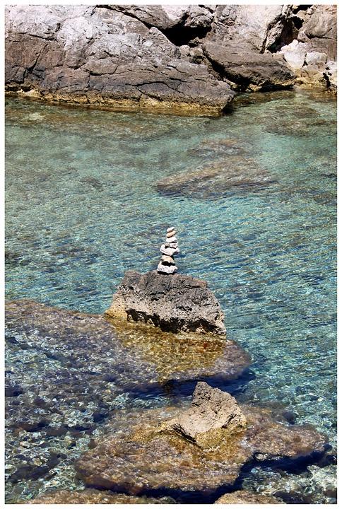 Stone Tower, Stack, Sea, Steinmann, Cairn, Stones
