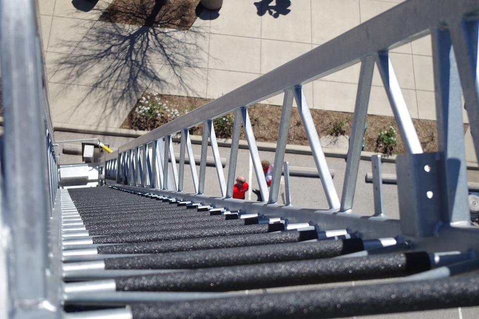 Ladder, Steel, Outdoors, Step, Climb, Railing, Up, High