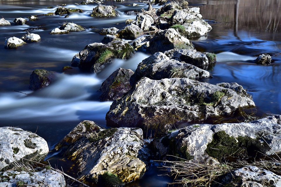 Stones, Water, Flow, Rock, Away, Path, Stepping Stones