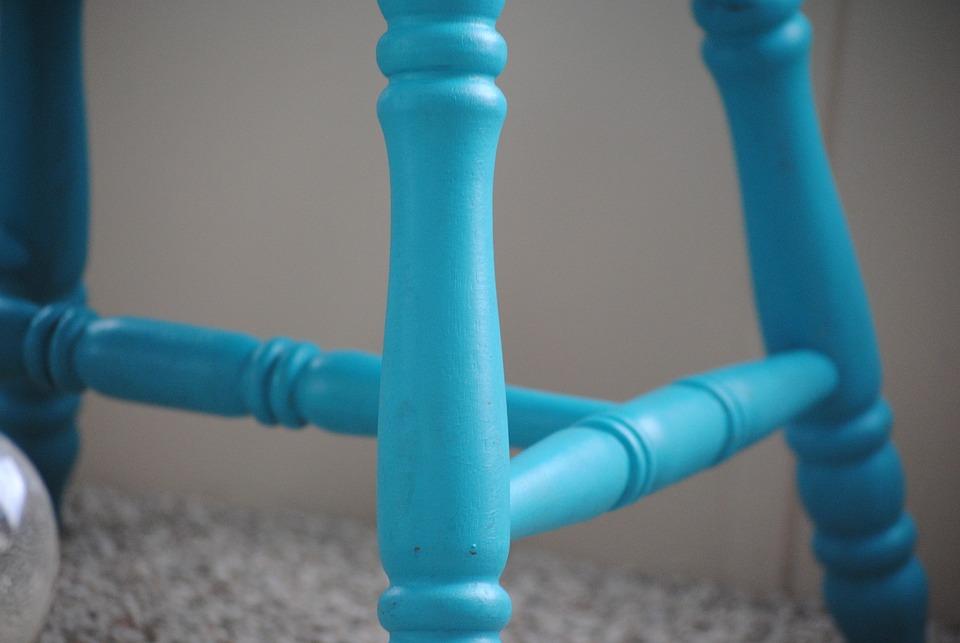 Chair, Rungs, Steps, Construction, Blue, Construct