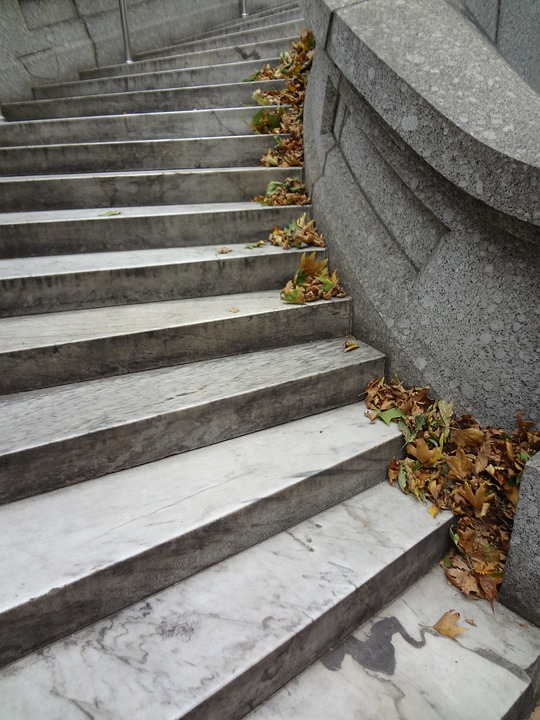 Steps, Leaves, Autumn, Stairs, Staircase, Fall, Marble