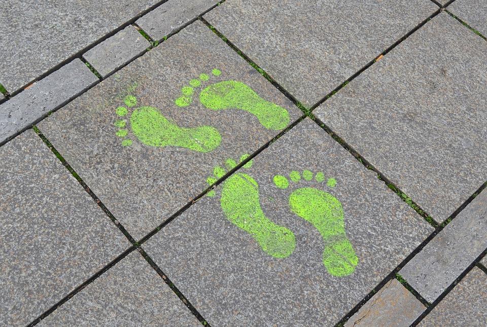 Footprint, Street Art, Sidewalk, Steps