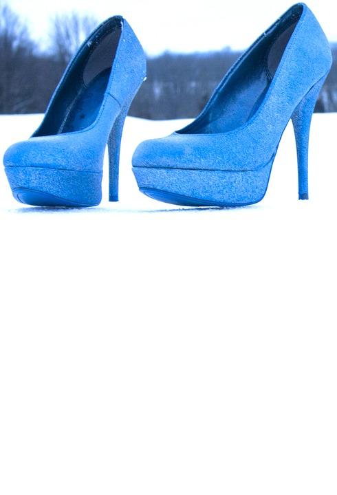 Shoes, Stilettos, Women, Fashion, Blue, Winter