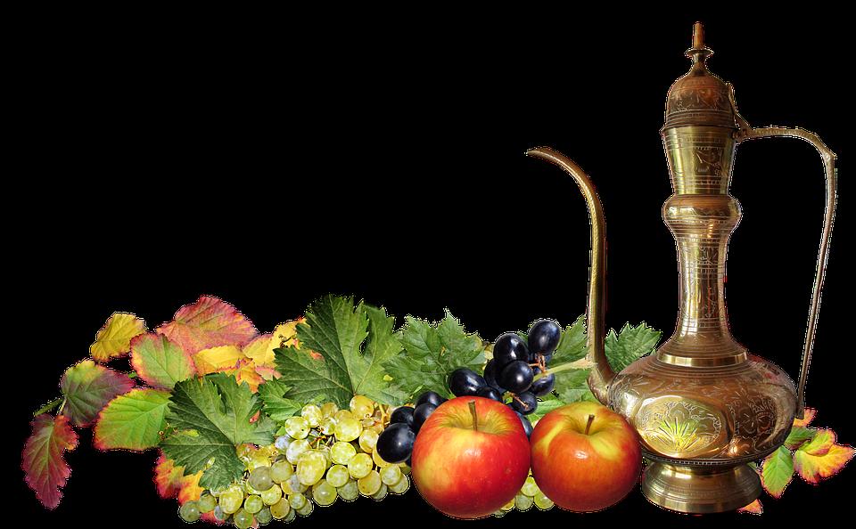 Fruit, Grapes, Apples, Leaves, Still Life, Brass