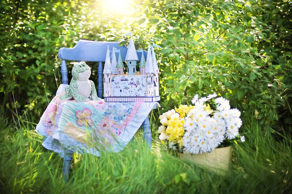Still Life, Child's Castle, Daisies, Blue Chair, Nature