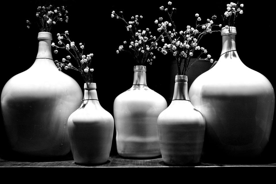 Monochrome, Art, Ceramic, Vase, Bottle, Still Life