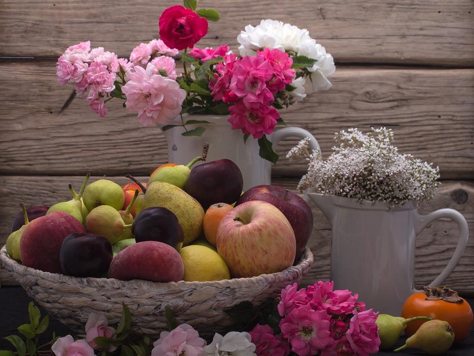 Still Life Fruit Fruits Flower Rose