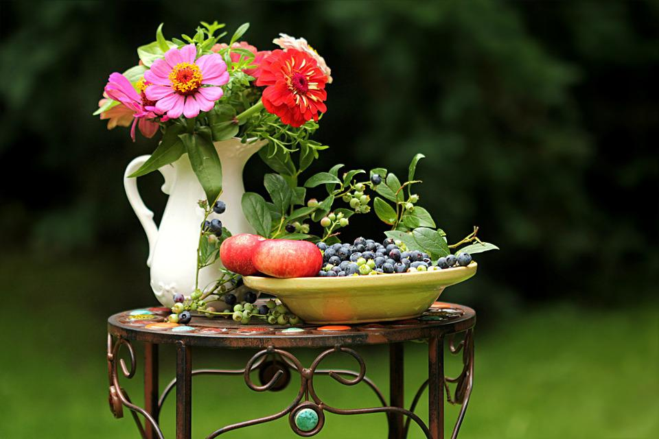 Summer Impression Flowers Fruit Still Life Garden