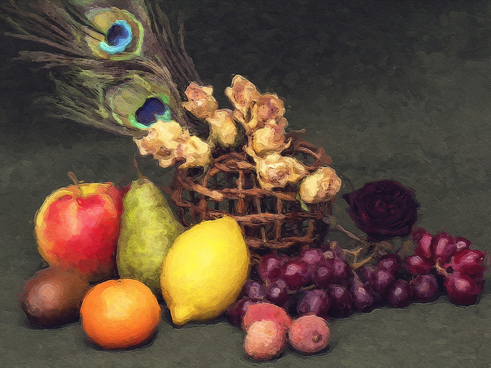 Still Life, Fruits, Flowers, Tropical Fruits