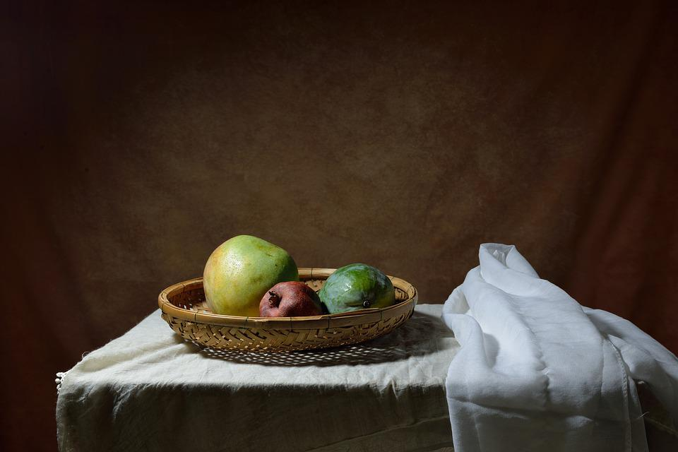 Fruits, Basket, Table Cloth, White, Still Life