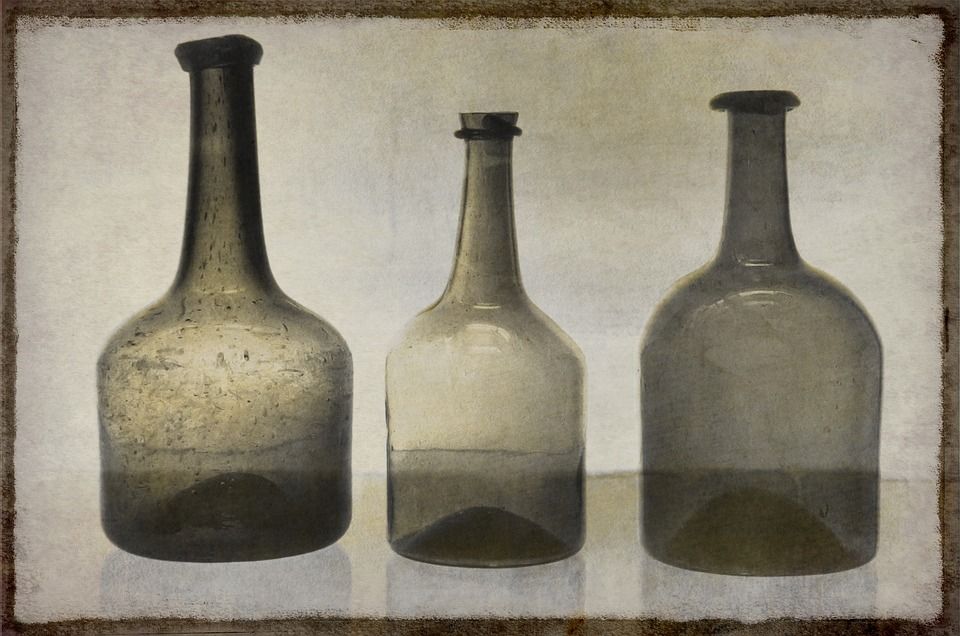 Still Life, Bottle, Three, Umber, Brown, Glass