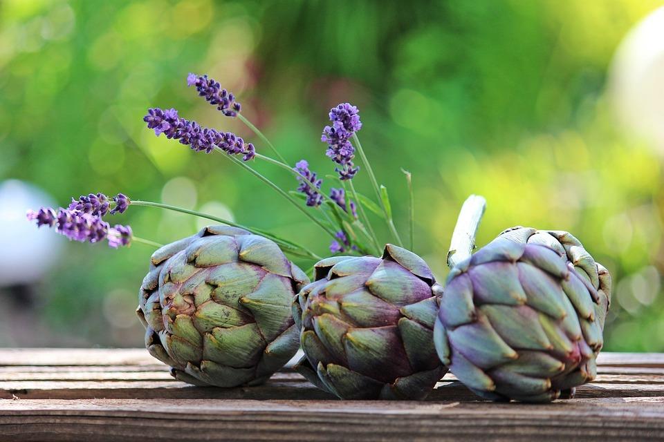 Artichokes, Lavender, Wooden Box, Still Life