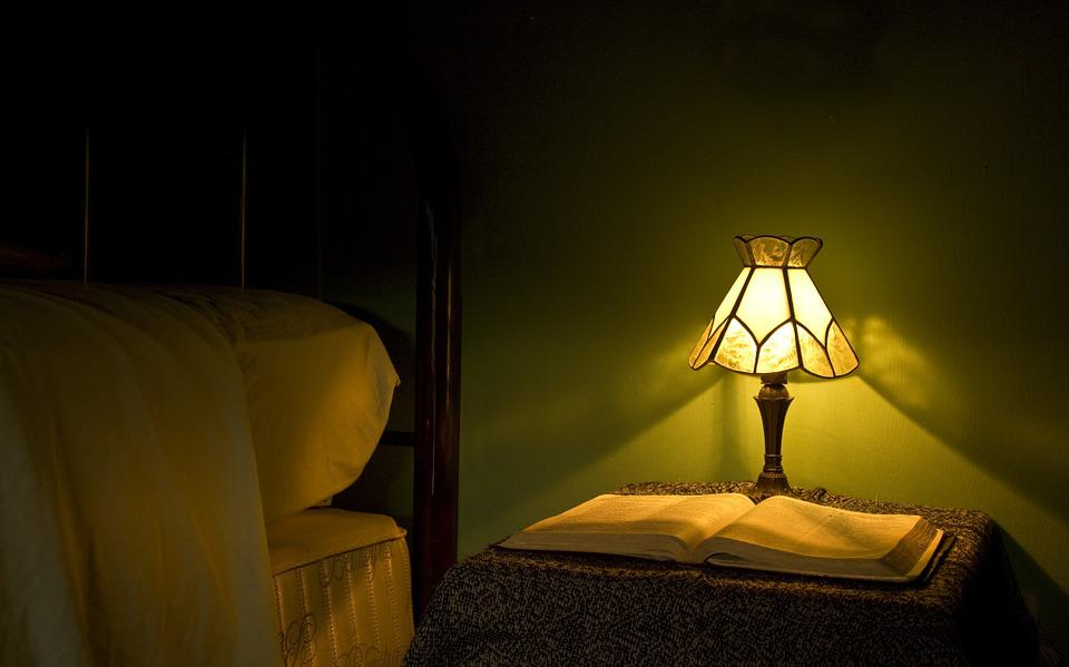 Lamp, Light, Bed, Bible, Still Life, Soft Light