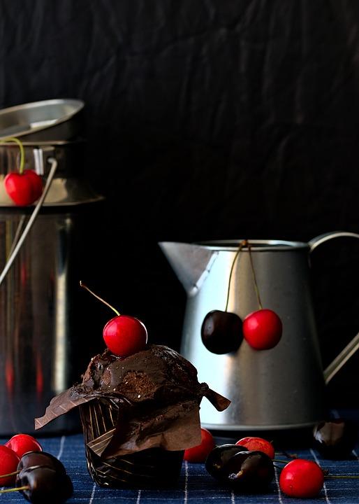 Cherries, Muffin, Still Life, Food, Chocolate Muffin