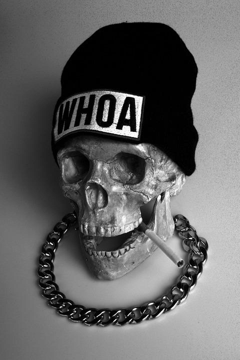 Skull, Caps, Cigarette, Chain, Still Life