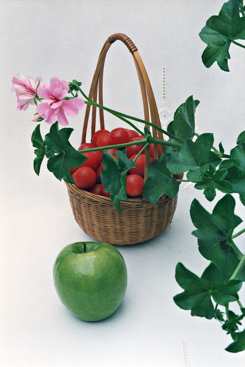 Still Life, Basket, Tomatoes, Apple, Decoration