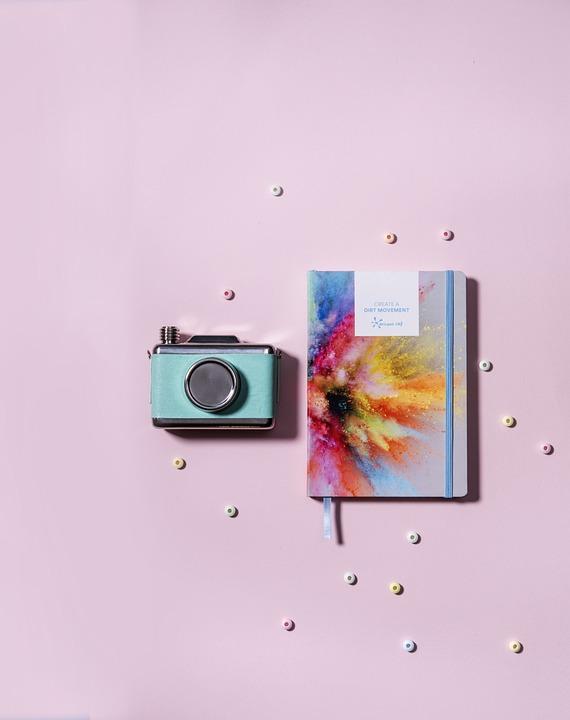Still, Items, Things, Camera, Notebook, Journal, Pastel