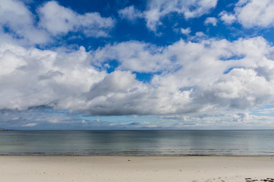 Beach, Sky, Clouds, Sea, Background, Stock Photo