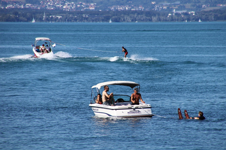 Water, Skis, Lake, Speed, Wave, Stock, Holiday, Extreme