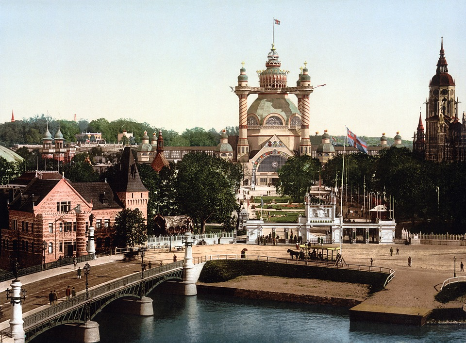 Stockholm, Sweden, Photochrom, Bridge, Church, River